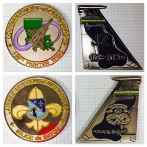 Two more of Bart's favorites: Louisiana Air National Guard coin (left, front & back), Louisiana Bayou Militia coin (right, front & back)