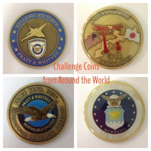 The Greek challenge coin presented to Kaveh by the Hellenic Air Force (left: front & back) & the Japanese challenge coin presented to Kaveh from Kadena Air Base in Okinawa, Japan (left, front & back)